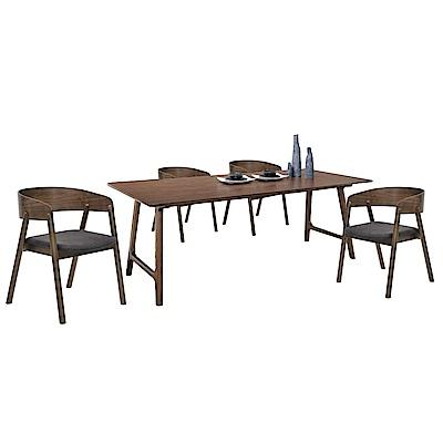 品家居 莉亞特6尺橡膠木實木餐桌椅組合(一桌四椅)-180x90x75cm免組
