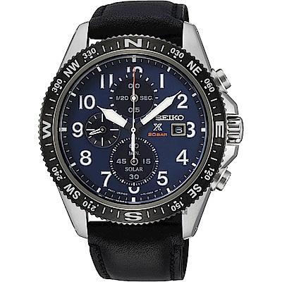 SEIKO 精工 PROSPEX 太陽能計時手錶(SSC737P1)-藍x黑/44mm