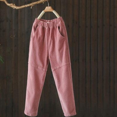 單色棉質燈芯絨拼接加絨褲寬鬆哈倫長褲-設計所在