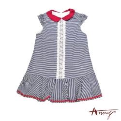 Annys安妮公主-海洋小小水手風圓領緞帶蕾絲半袖洋裝*7162藍