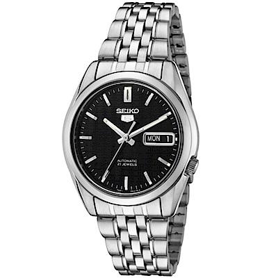 SEIKO精工  神鬼交鋒夜光5號自動上鍊機械腕錶(SNK361K1)-黑/37mm