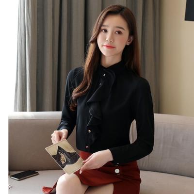 2F韓衣-韓系立領造型雪紡上衣-3色(S-2L)