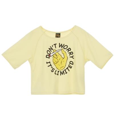 UDOU 她的時尚!叛逆吸菸圖短版T恤(黃)