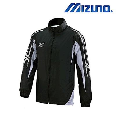 MIZUNO 美津濃 男風衣套裝上衣 黑X白 32TE758909
