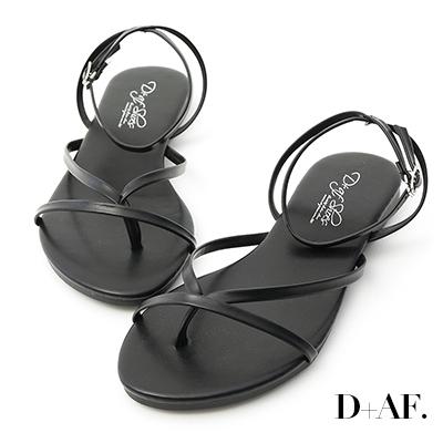 D+AF 自在滿分.一字夾腳繫踝平底涼鞋*黑
