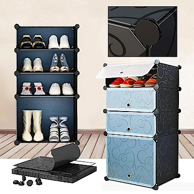 【Vencedor】 魔片組合式大容量四層鞋櫃