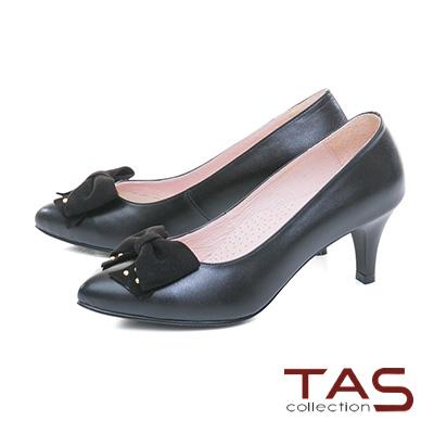TAS立體蝴蝶結拼接素面尖頭高跟鞋-經典黑