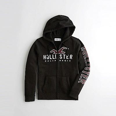 海鷗 Hollister 經典刺繡大海鷗文字連帽外套-黑色