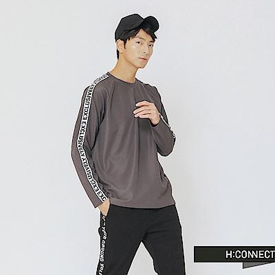 H:CONNECT 韓國品牌 男裝-衣袖標語滾邊上衣-灰