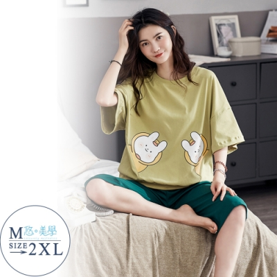 悠美學-精梳棉短袖印花居家服套裝-小白兔(M-2XL)
