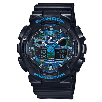 G-SHOCK 冷冽秋冬金屬新色迷彩風格休閒錶(GA-100CB-1A)-藍x黑/51.2mm