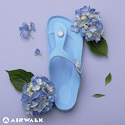 【AIRWALK】百搭羅馬夾腳拖鞋-淺藍