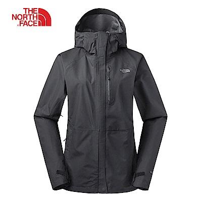 The North Face北面女款黑色防水透氣衝鋒衣|3V98JK3