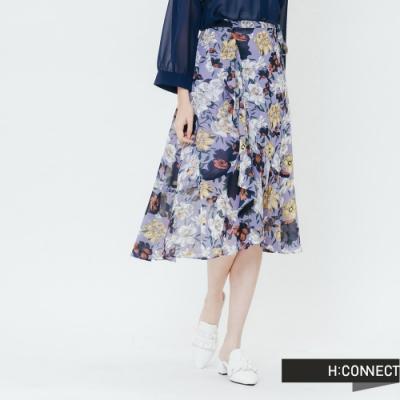 H:CONNECT 韓國品牌 女裝-繽紛印花綁結中長裙-紫