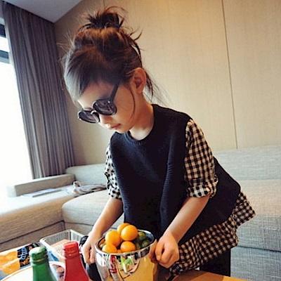 小衣衫童裝  時尚假2件針織拼接格子娃娃裝1040848