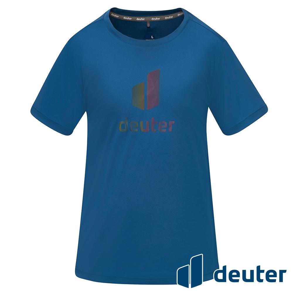 【deuter 德國】男款經典炫光LOGO休閒短袖T恤DE-T2101M海藍/吸濕排汗/輕薄透氣/反光圖T