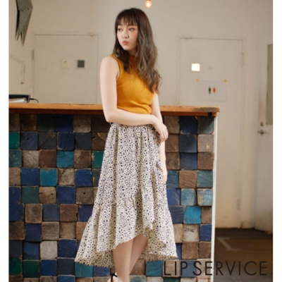 LIP SERVICE 前短後長豹紋長裙(2色)