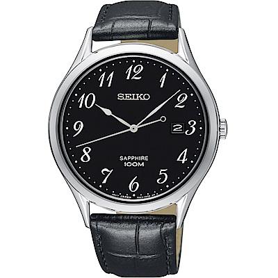 SEIKO精工CS 都會品味藍寶石水晶腕錶(SGEH77P1)-黑/40mm