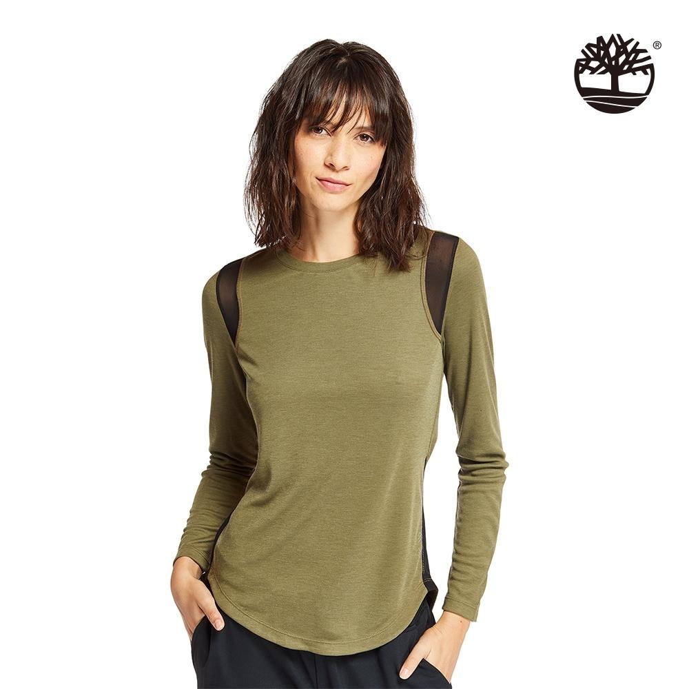 Timberland 女款橄欖綠拼接網紗長袖圓領T恤|B5506