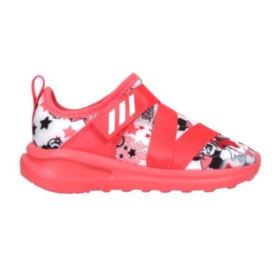 ADIDAS FORTARUN X MINNIE I女小童休閒運動鞋-迪士尼 愛迪達 FV4260 珊瑚紅白黑