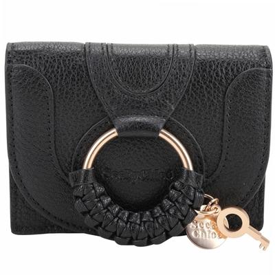 SEE BY CHLOE HANA 編織環山羊皮翻蓋釦式卡片夾/零錢包(黑色)