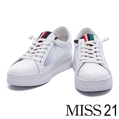 休閒鞋 MISS 21 時尚獨特異材質拼接網布厚底休閒鞋-白