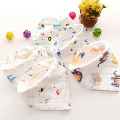 Baby童衣 六層紗純棉嬰幼兒三角巾 新生兒口水巾 88059