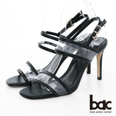 【bac】紐約不夜城 - 異材質拼接PVC透明感細跟高跟涼鞋-黑色
