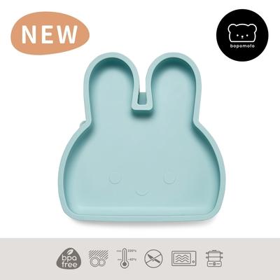 新加坡bopomofo 兔兔矽膠吸盤餐具-灰藍