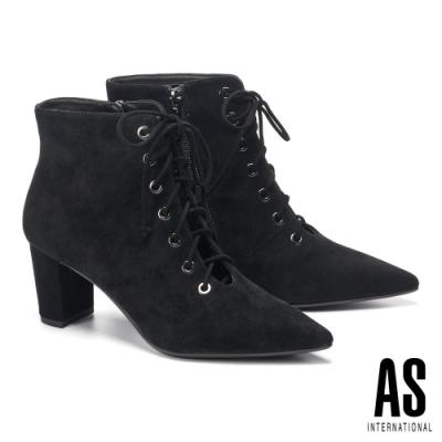 短靴 AS 時髦性感鏤空造型綁帶羊麂皮尖頭高跟短靴-黑