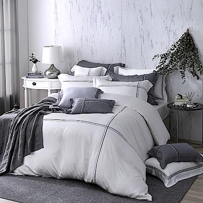 OLIVIA  Alma 白  300織天絲萊賽爾 標準雙人床包冬夏兩用被套四件組