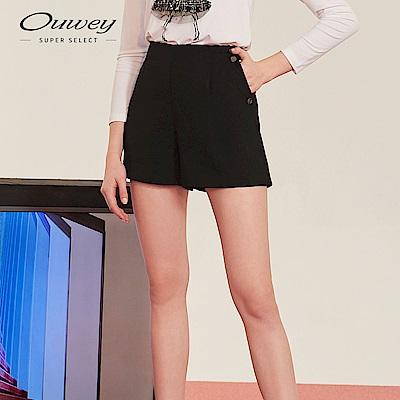 OUWEY歐薇 精緻微光澤短褲(黑/米)