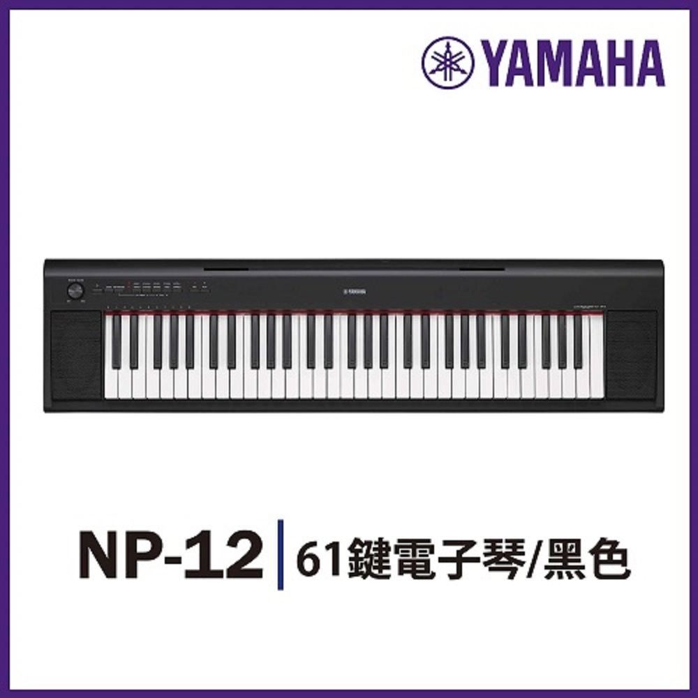『YAMAHA山葉』NP-12 攜帶式標準61鍵電子琴 / 黑色 公司貨保固