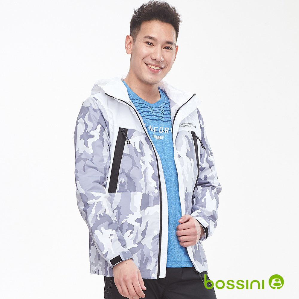 bossini男裝-休閒連帽防風外套01白