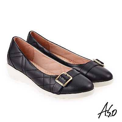 A.S.O 雅致魅力 全真皮菱格壓紋釦飾低跟鞋 黑