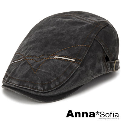 AnnaSofia 車線繪水洗牛仔 鴨舌帽小偷帽(黑系)