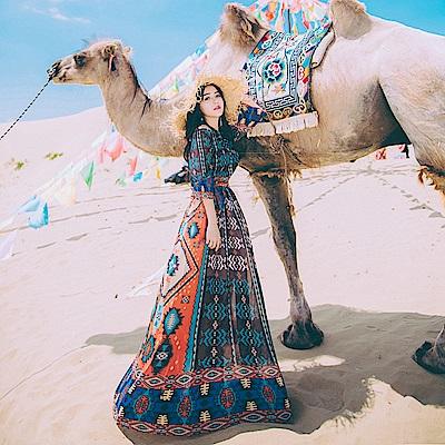中東風情雪紡大襬長洋裝-S~L-維拉森林