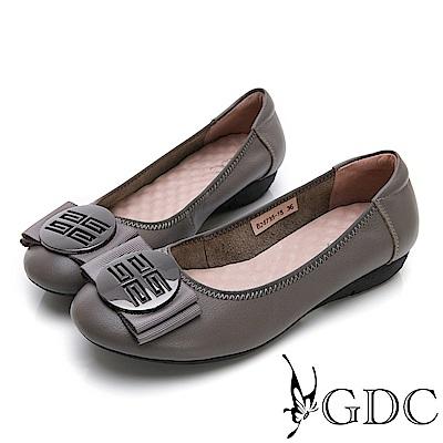 GDC-真皮摩砂釦蝴蝶結基本素面款平底鞋-灰色