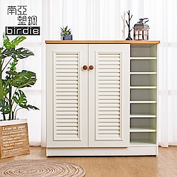 Birdie南亞塑鋼-3.3尺二門右開放塑鋼百葉鞋櫃-原木色+白色-98x37x100cm