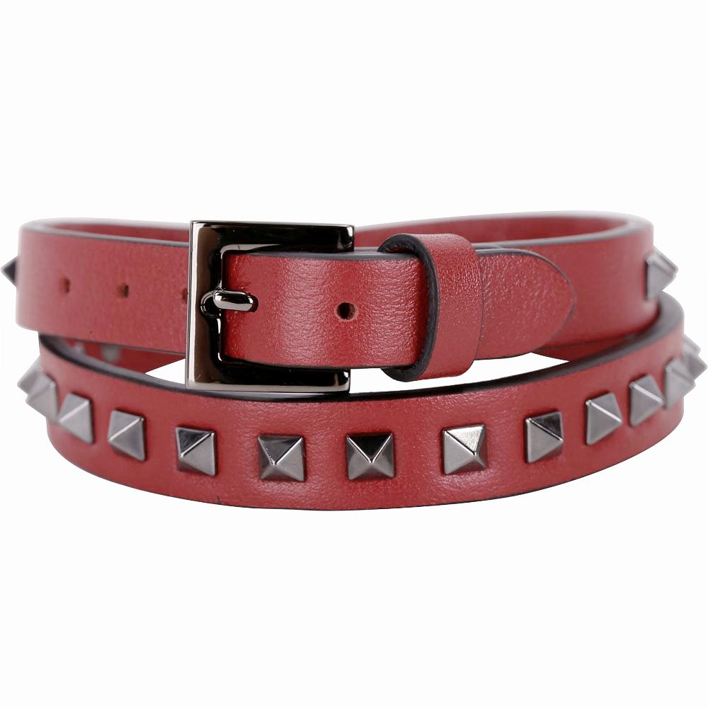 VALENTINO Rockstud 仿舊鉚釘雙繞小牛皮手環(紅色)