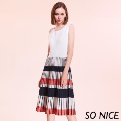 SO NICE優雅假兩件撞色條紋洋裝