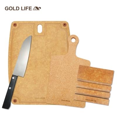 GOLD LIFE 美國原木不吸水抗菌砧板( L+單柄砧 )  再送GOLD LIFE日式主廚刀+GOLD LIFE砧板架