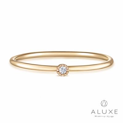 ALUXE 亞立詩 10K鑽石極簡圓戒指