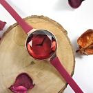 rumba time 紐約品牌 小巧細緻 切割玻璃鏡面 矽膠手錶-酒紅x玫瑰金框/30mm