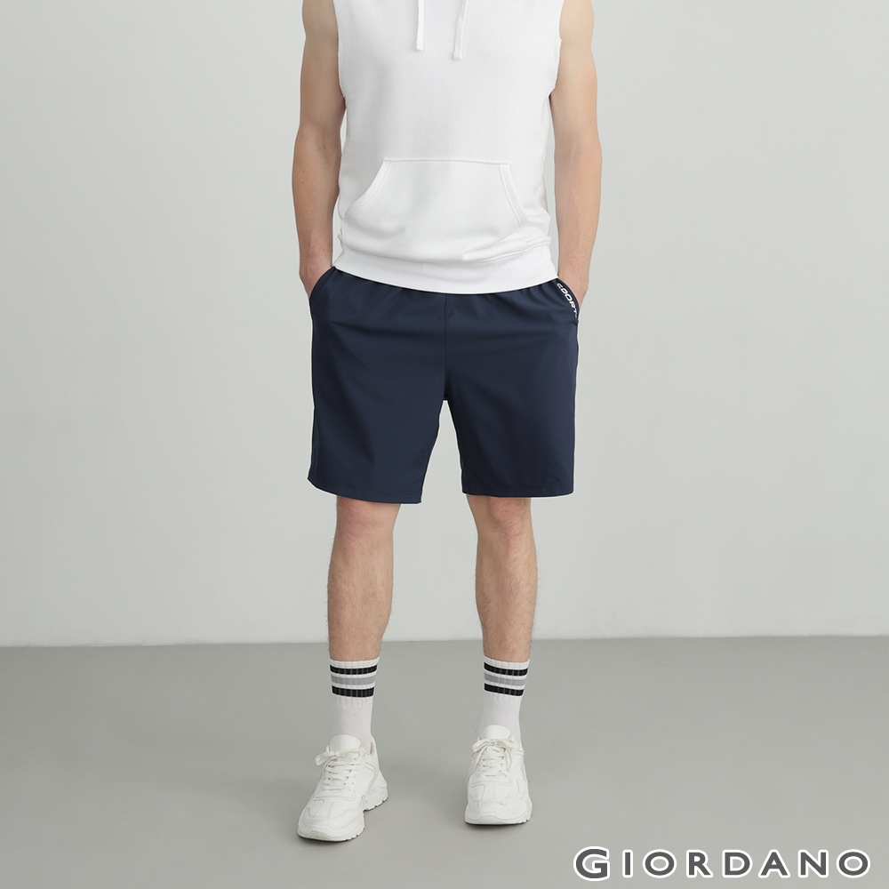 GIORDANO 男裝3M經典素色運動短褲 - 66 標誌海軍藍
