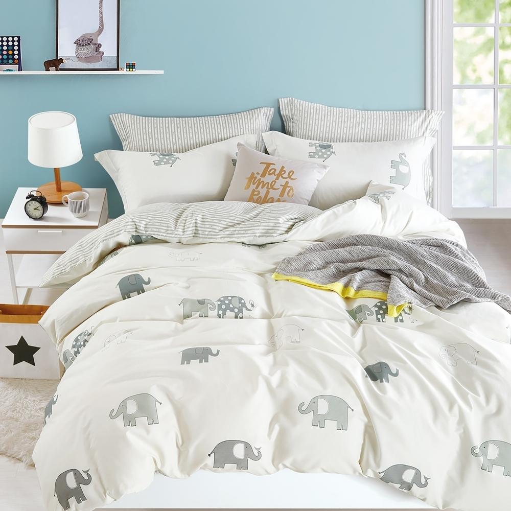 La Lune MIT 精梳棉200織紗加大床包被套四件組-多款任選
