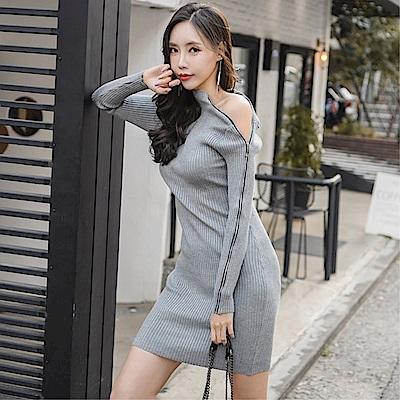 DABI 韓系立領修身拉鏈包臀針織長袖洋裝