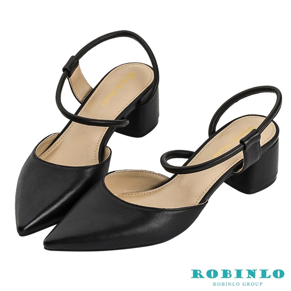 Robinlo優雅素面尖頭細帶低跟涼鞋 黑色