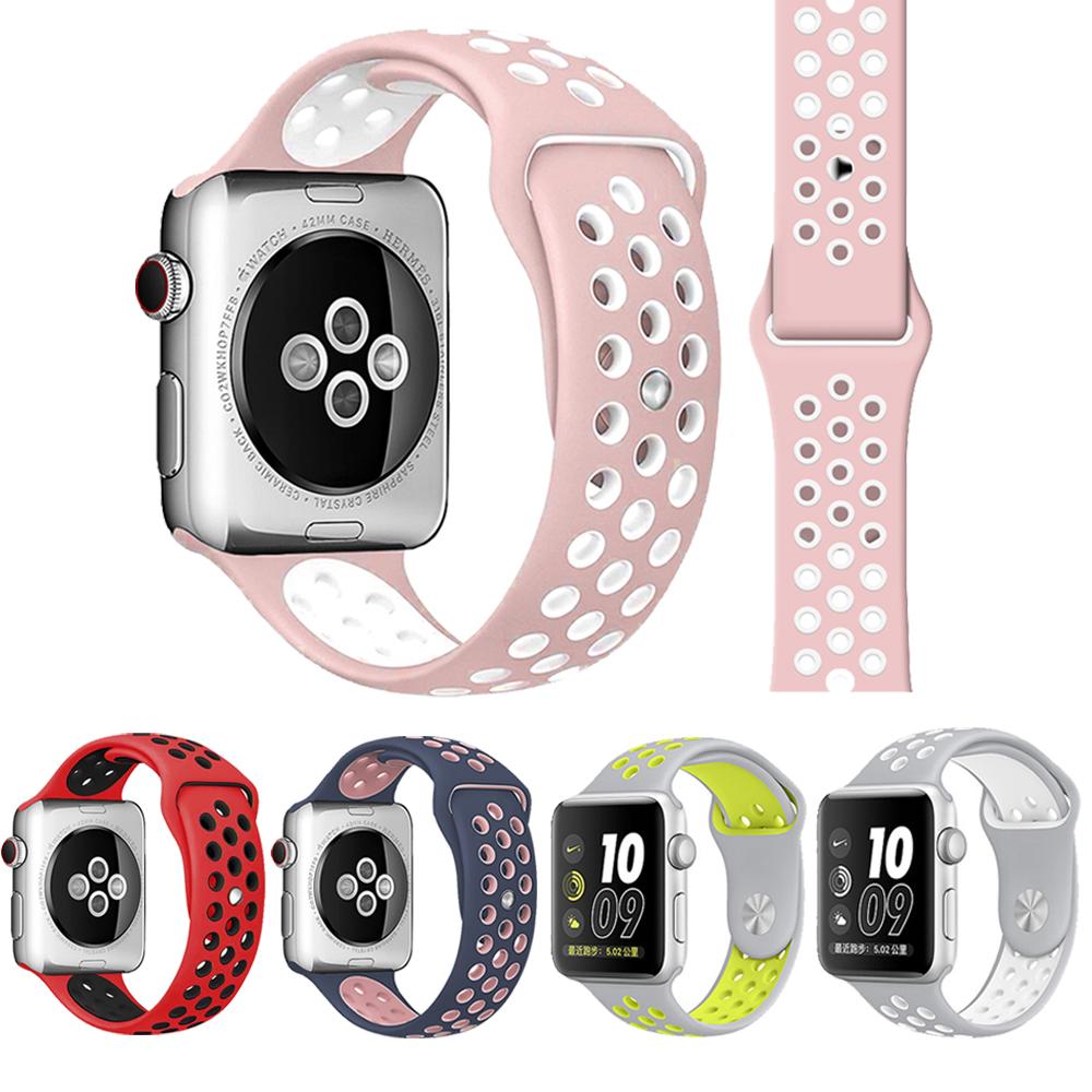 Apple Watch 1/2/3/4/5 雙色款硅膠運動型錶帶