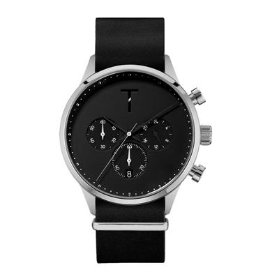 TYLOR 時尚原動力三眼腕錶-黑X銀(TLAE003)/41mm
